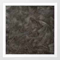 Black And White Brushstrokes Abstract Pattern Modern Art Print