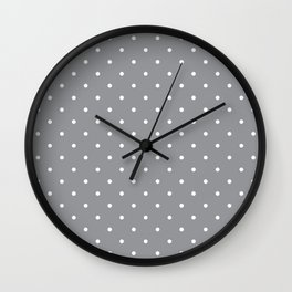 Small White Polka Dots with Grey Background Wall Clock