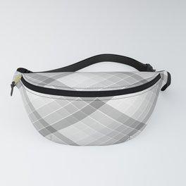 Gray Geometric Squares Diagonal Check Tablecloth Fanny Pack