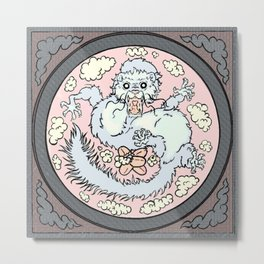 Ferret Dragon (square) Metal Print
