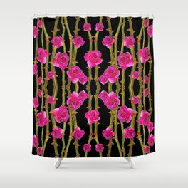 "FUCHSIA PINK ""ROSES & THORNS""  BLACK ART PATTERNS Shower Curtain"