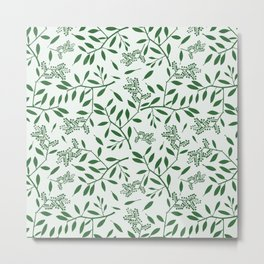 Abstract forest green ivory foliage leaf pattern Metal Print