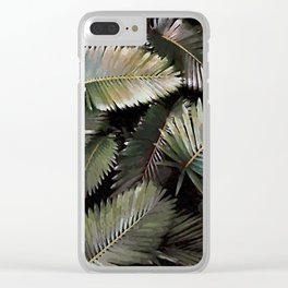 Dark Palm Leaves Clear iPhone Case