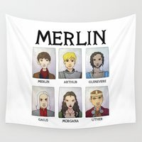 merlin Wall Tapestries featuring MERLIN by Space Bat designs
