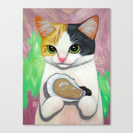 KITTY LOVES OYSTER Canvas Print