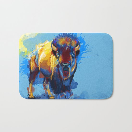On the Plains - Bison painting Bath Mat