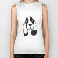 the hound Biker Tanks featuring Basset Hound by anabelledubois