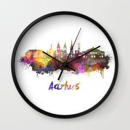 Aarhus skyline in watercolor Wall Clock
