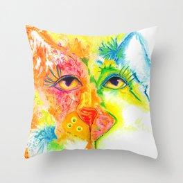 Cat Abstract  original painting Deb Harvey art Tropical  Throw Pillow
