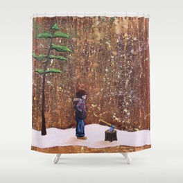Someone Stole My Wood Shower Curtain