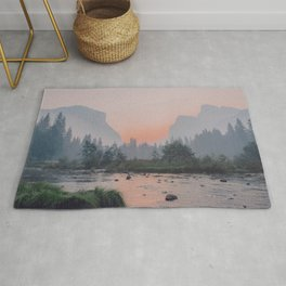 Yosemite Valley Sunrise Pretty Pink Rug