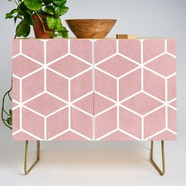Blush Pink and White - Geometric Textured Cube Design Credenza