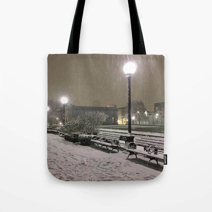 Romantic Seattle Snow At Night Tote Bag