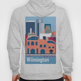 Wilmington, Delaware - Skyline Illustration by Loose Petals Hoody