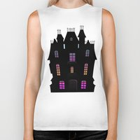 haunted mansion Biker Tanks featuring Haunted Silhouette Rainbow Mansion by rainbowdreams