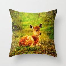 Fawn In Woods By Annie Zeno Throw Pillow
