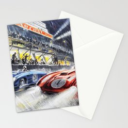1954 Le Mans Auto Racing Advertisement Vintage Poster Stationery Cards