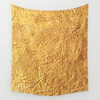 black and gold Wall Tapestries featuring Gold by Patterns and Textures