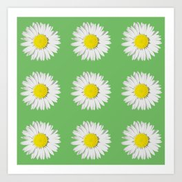 Retro Daisy · Green Art Print