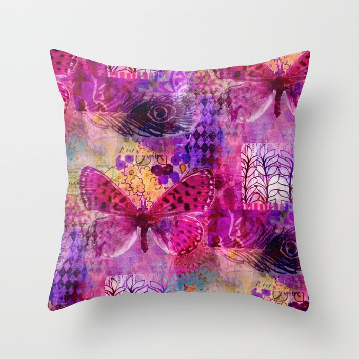 Butterflies Dream In Pink Throw Pillow