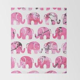 Modern pink black watercolor marble elephant Throw Blanket