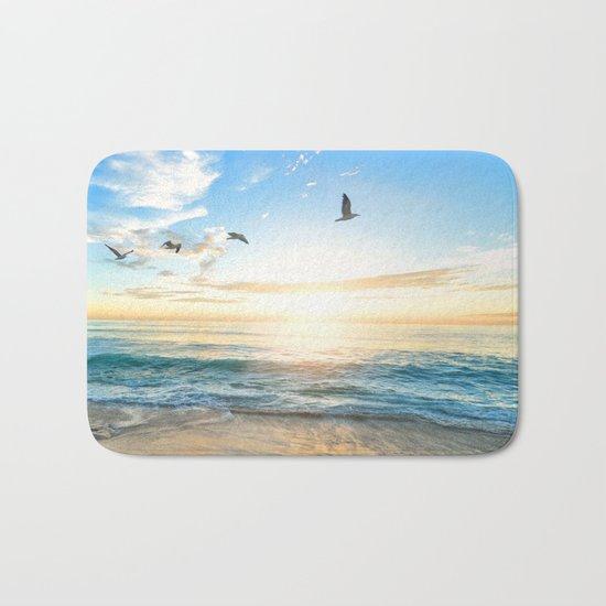 Blue Sky with Birds Bath Mat