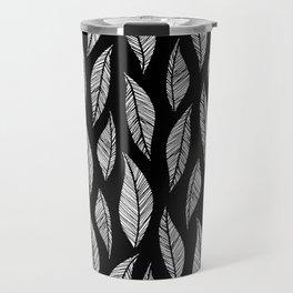 Black and White Tropical Motif Travel Mug