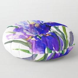 Garden Irises, Blue Purple Floral Design Floor Pillow