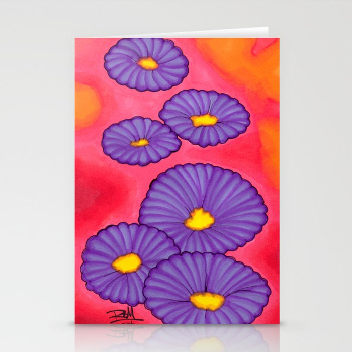 Purple Flowers - Mazuir Ross Stationery Cards