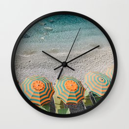 Umbrellas on the beach Wall Clock