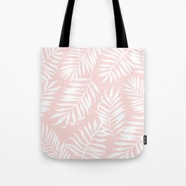 Tropical Palm Leaves - Pink & White Tote Bag