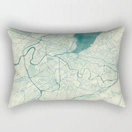 Geneva Map Blue Vintage Rectangular Pillow