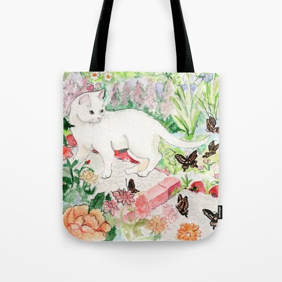 White Cat in a Garden Tote Bag