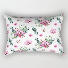 Modern fuchsia green watercolor country floral Rectangular Pillow