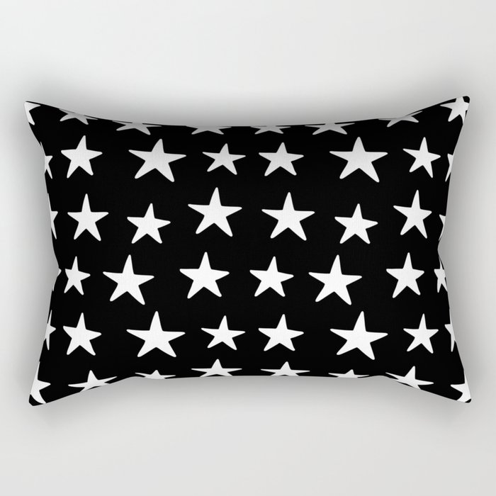 Star Pattern White On Black Rectangular Pillow
