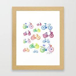 Rainbow bicycles Framed Art Print
