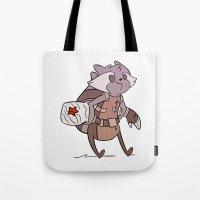 rocket raccoon Tote Bags featuring Rocket by Charleighkat
