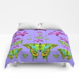 GREEN MOTHS & PURPLE LILIES LILAC COLOR Comforters