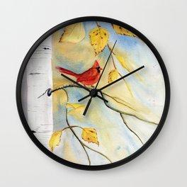 Cardinal on birch Tree Wall Clock