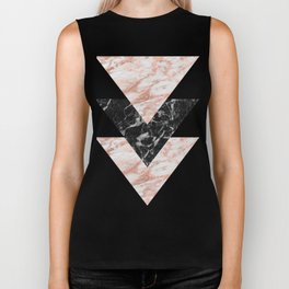 Marbles rose gold gilded triangles Biker Tank