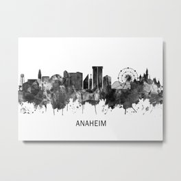 Anaheim California Skyline BW Metal Print