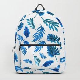 Blue Palm leaf watercolor art Backpack