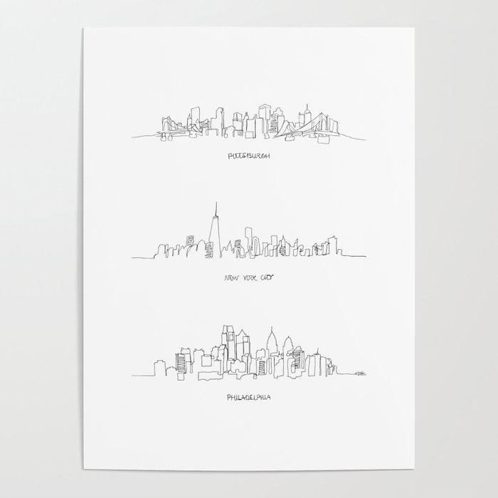 Pittsburgh New York City Philadelphia Poster By Emilydesantis