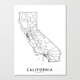 California White Map Canvas Print