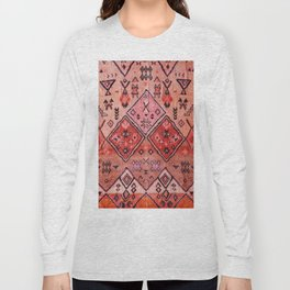 N52 - Pink & Orange Antique Oriental Traditional Moroccan Style Artwork Long Sleeve T-shirt