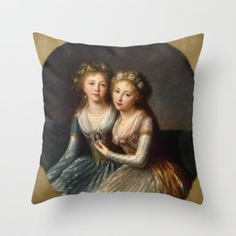 Elisabeth Louise Vigee Le Brun - Portrait of Emperor Pavel I's Daughters Throw Pillow