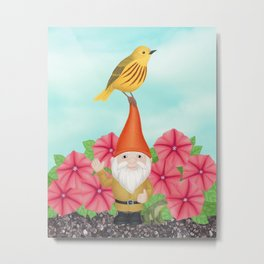 gnome with yellow warbler and petunias Metal Print