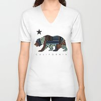 california V-neck T-shirts featuring California by TAM ♡
