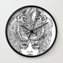 Leafy sea dragon Girl Ocean hand drawn illustration Wall Clock