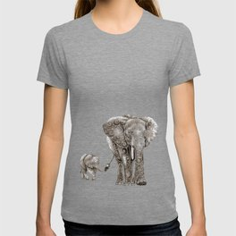 Swirly Elephant Family T-shirt